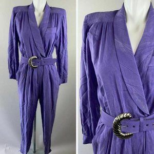 Vtg 90s Taurus II Purple Stonewashed Jumpsuit Belt